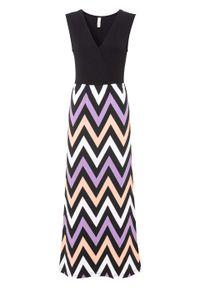 Długa sukienka z przyjaznej dla środowiska wiskozy bonprix czarno-łososiowy w paski. Kolor: czarny. Materiał: wiskoza. Wzór: paski. Styl: elegancki. Długość: maxi