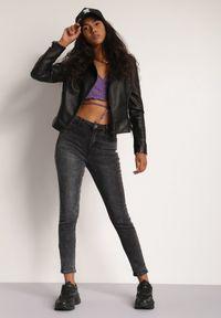 Renee - Czarne Jeansy Skinny Thana. Stan: podwyższony. Kolekcja: plus size. Kolor: czarny. Długość: długie