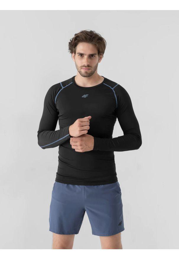 4f - Longsleeve treningowy szybkoschący męski. Kolor: czarny. Materiał: dzianina, skóra. Długość rękawa: długi rękaw