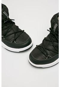 Czarne buty zimowe Moon Boot na sznurówki, z cholewką, z okrągłym noskiem