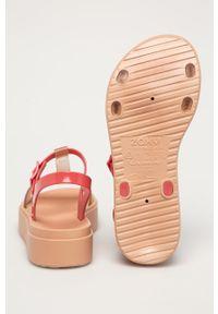 Pomarańczowe sandały zaxy na klamry, bez obcasa, z motywem zwierzęcym #4