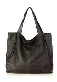 Marco Mazzini handmade - Czarna Torebka Miejski Shopper Bag Skóra Naturalna. Kolor: czarny. Materiał: skórzane