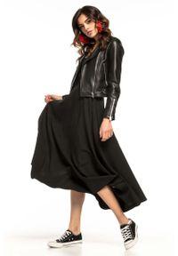 Tessita - Czarna Rozkloszowana Midi Spódnica z Metalowym Zamkiem. Kolor: czarny. Materiał: poliester, elastan