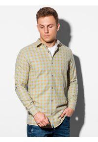 Żółta koszula Ombre Clothing z długim rękawem, długa