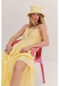 mango - Mango - Sukienka COTTON. Kolor: żółty. Materiał: materiał, bawełna. Długość rękawa: na ramiączkach. Typ sukienki: rozkloszowane