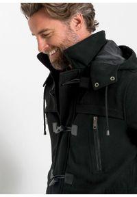 Płaszcz budrysówka z materiału w optyce wełny bonprix czarny. Typ kołnierza: kaptur. Kolor: czarny. Materiał: materiał, wełna