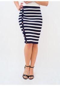 Niebieska spódnica Fanaberia.com wakacyjna, w paski