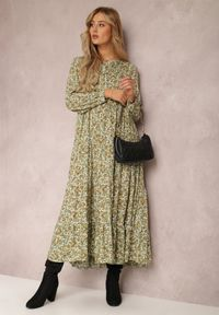 Renee - Zielona Sukienka Feanyore. Kolor: zielony. Wzór: kwiaty, kolorowy. Długość: maxi