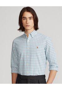 Ralph Lauren - RALPH LAUREN - Koszula w kratę Oxford Custom Fit. Typ kołnierza: button down, polo. Kolor: biały. Materiał: bawełna. Długość rękawa: długi rękaw. Długość: długie. Wzór: haft, kolorowy