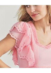 LOVE SHACK FANCY - Różowa sukienka maxi Rinny. Kolor: różowy, wielokolorowy, fioletowy. Materiał: bawełna, koronka. Wzór: ażurowy, geometria, aplikacja. Typ sukienki: rozkloszowane. Długość: maxi