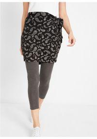 Spódnica - pas na biodra w deseń paisley bonprix czarno-biały z nadrukiem. Kolor: czarny. Wzór: paisley, nadruk