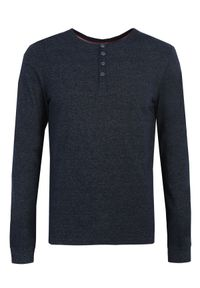 Niebieski t-shirt TOP SECRET z dekoltem w serek, długi, w kolorowe wzory