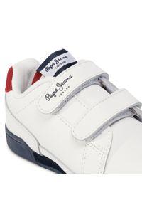 Białe półbuty Pepe Jeans na spacer, na rzepy, z cholewką