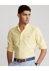Ralph Lauren - RALPH LAUREN - Żółta koszula Oxford Slim Fit. Typ kołnierza: polo. Kolor: żółty. Wzór: haft, kolorowy. Styl: klasyczny, elegancki