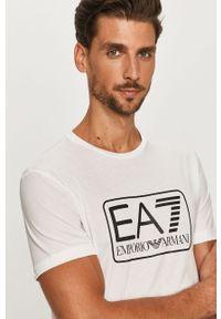 Biały t-shirt EA7 Emporio Armani casualowy, na co dzień, z nadrukiem, z okrągłym kołnierzem
