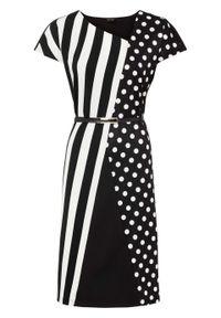 Sukienka, krótki rękaw bonprix czarno-biały w kropki. Kolor: czarny. Długość rękawa: krótki rękaw. Wzór: kropki