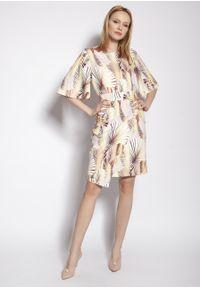 e-margeritka - Sukienka ołówkowa z szerokimi rękawami w liście - 44. Materiał: tkanina, materiał, poliester. Typ sukienki: ołówkowe. Styl: elegancki. Długość: midi