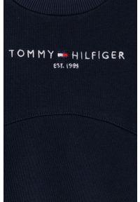 Niebieska bluza TOMMY HILFIGER casualowa, bez kaptura, z aplikacjami