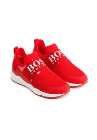 Czerwone buty sportowe BOSS z okrągłym noskiem, z cholewką