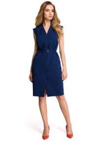 MOE - Granatowa Wizytowa Sukienka Szmizjerka bez Rękawów. Kolor: niebieski. Materiał: elastan, poliester. Długość rękawa: bez rękawów. Typ sukienki: szmizjerki. Styl: wizytowy
