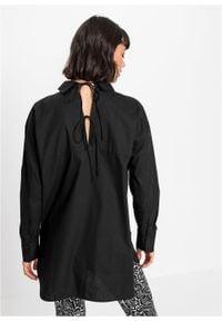 Długa bluzka z ozdobnym sznurowaniem z tyłu bonprix czarny. Typ kołnierza: kołnierzyk koszulowy. Kolor: czarny. Długość: długie