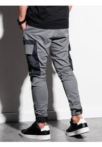 Ombre Clothing - Spodnie męskie joggery P998 - szare - XXL. Kolor: szary. Materiał: tkanina, bawełna, elastan