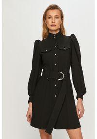 Czarna sukienka The Kooples na co dzień, mini, rozkloszowana