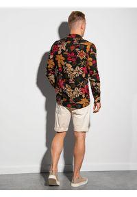 Ombre Clothing - Koszula męska z długim rękawem K569 - czarna/czerwona - XXL. Okazja: do pracy, na spotkanie biznesowe. Kolor: czerwony. Materiał: wiskoza. Długość rękawa: długi rękaw. Długość: długie. Wzór: kolorowy. Sezon: lato. Styl: wakacyjny, biznesowy