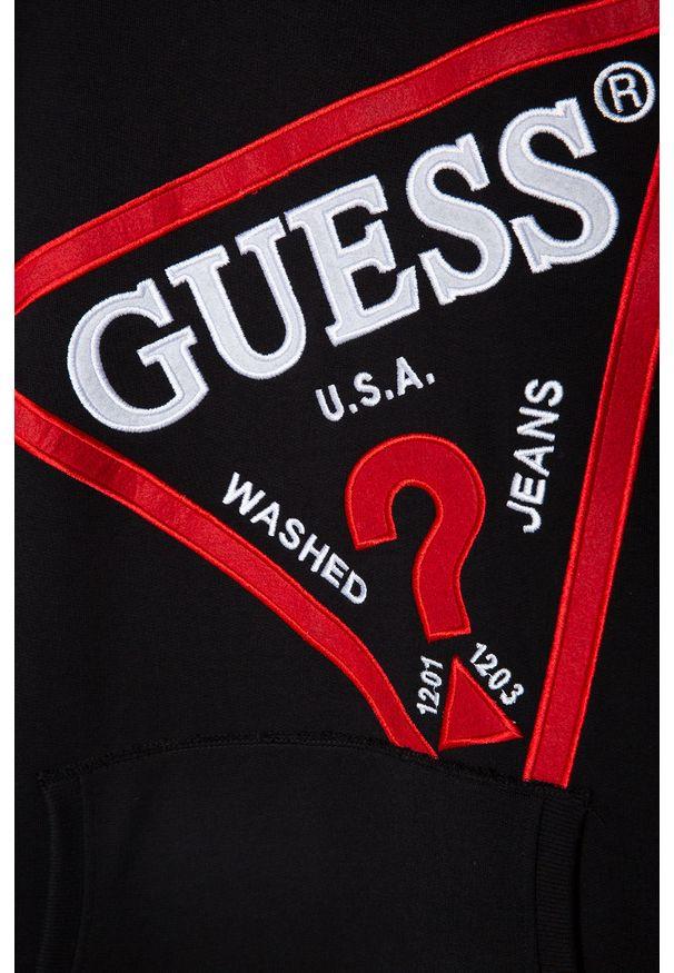 Czarna bluza Guess Jeans z kapturem, z aplikacjami