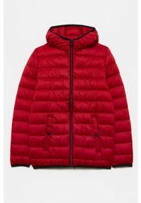 Czerwona kurtka OVS gładkie, casualowa, z kapturem, na co dzień