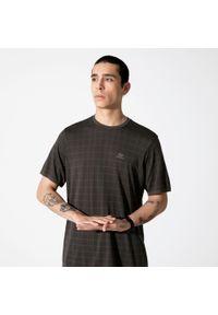 KALENJI - Koszulka Do Biegania Dry+ Feel Męska. Kolor: czarny, zielony, brązowy, wielokolorowy. Materiał: poliamid, materiał, poliester. Wzór: ze splotem. Sport: fitness, bieganie
