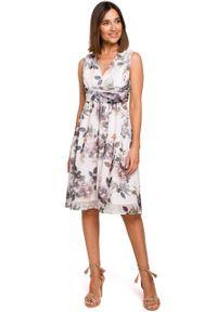 e-margeritka - Sukienka szyfonowa bez rękawów kwiaty ecru - 2xl. Okazja: na wesele, na imprezę, na ślub cywilny. Materiał: szyfon. Długość rękawa: bez rękawów. Wzór: kwiaty. Typ sukienki: proste, rozkloszowane. Styl: elegancki