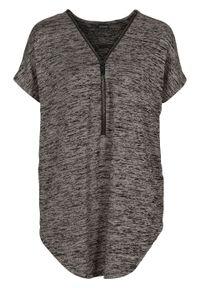 Shirt oversize z zamkiem bonprix beżowy melanż. Typ kołnierza: dekolt w serek. Kolor: beżowy. Wzór: melanż