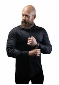 Czarna elegancka koszula Atleto długa, z długim rękawem