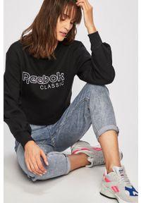 Czarna bluza Reebok Classic z okrągłym kołnierzem, z aplikacjami