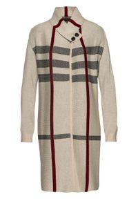 Długi sweter rozpinany bonprix beżowo-czarno-bordowy w kratę. Kolor: brązowy. Długość: długie. Wzór: aplikacja