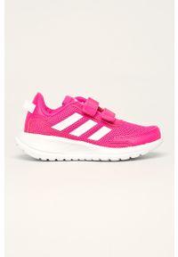 Różowe buty sportowe Adidas z cholewką, na rzepy, z okrągłym noskiem