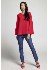 Czerwona bluzka z długim rękawem Nommo z dekoltem na plecach