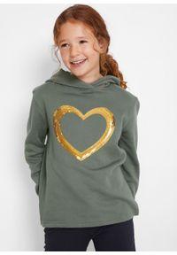 Bluza dziewczęca z kapturem i cekinami bonprix zieleń mchu. Typ kołnierza: kaptur. Kolor: fioletowy