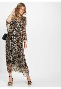 Beżowa sukienka bonprix maxi, z nadrukiem
