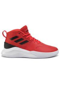 Czerwone półbuty Adidas na co dzień, z cholewką, eleganckie