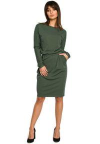 MOE - Zielona Sukienka z Gumką w Pasie. Kolor: zielony. Materiał: elastan, bawełna