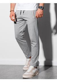Ombre Clothing - Spodnie męskie dresowe P950 - szary melanż - XXL. Kolor: szary. Materiał: dresówka. Wzór: melanż