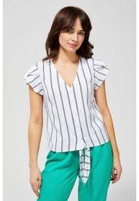 Koszula MOODO bez kołnierzyka, z krótkim rękawem, krótka, w paski