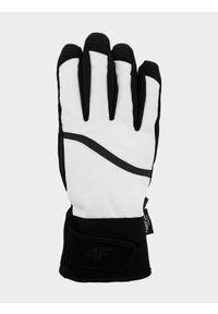 4f - Rękawice narciarskie damskie. Kolor: biały. Materiał: materiał, syntetyk. Technologia: Thinsulate. Sezon: zima. Sport: narciarstwo