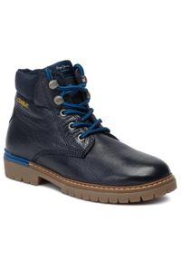 Niebieskie buty zimowe Pepe Jeans z cholewką