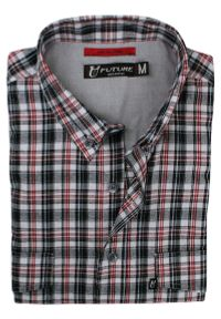 Wielokolorowa koszula casual Jurel w kolorowe wzory, z krótkim rękawem