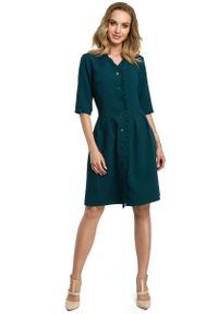 Zielona sukienka z falbanami MOE szmizjerki