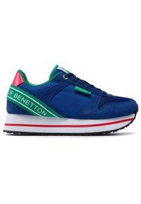 Niebieskie półbuty United Colors of Benetton z cholewką, na co dzień, casualowe