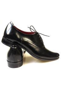 Faber - Eleganckie czarne wiedenki T32. Kolor: czarny. Materiał: skóra, materiał. Styl: elegancki